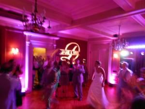 Monogram at Jane and Kris Dourdas wedding at the Lincklaen House